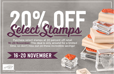 20% discount on Selected Stampin' Up Stamp Sets ONLY until 20th Nov