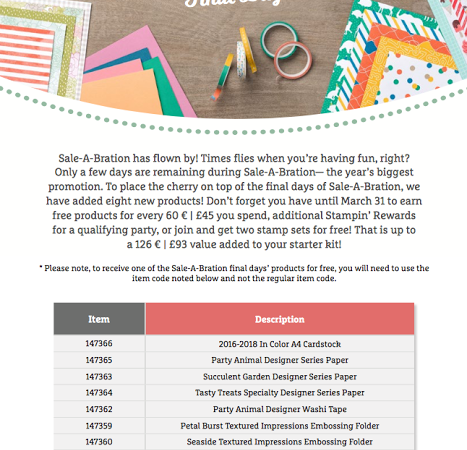 New FREE Products added to Sale-a-Bration
