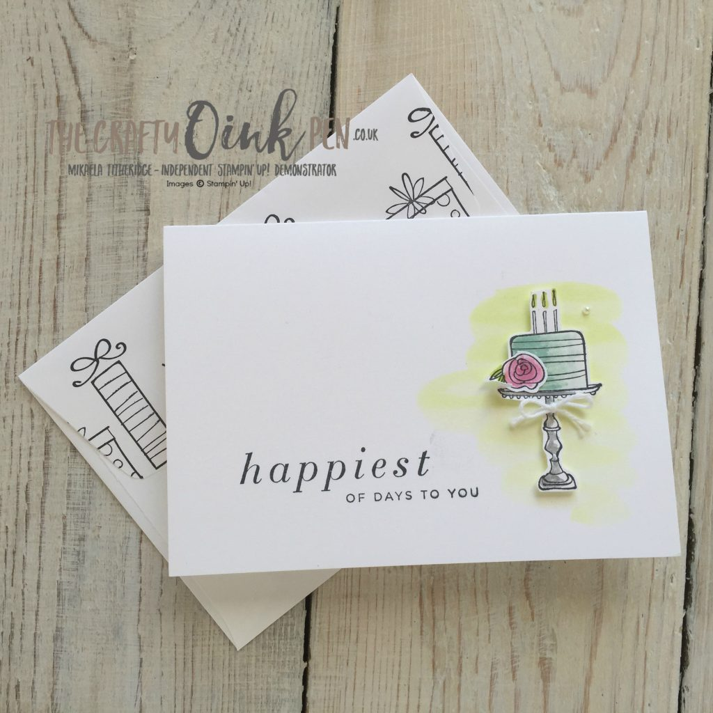 Stamping on the Happiest of Days by Mikaela Titheridge, UK Stampin' Up! Demonstrator, The Crafty oINK Pen. Watercolor Wash Wedding Cake