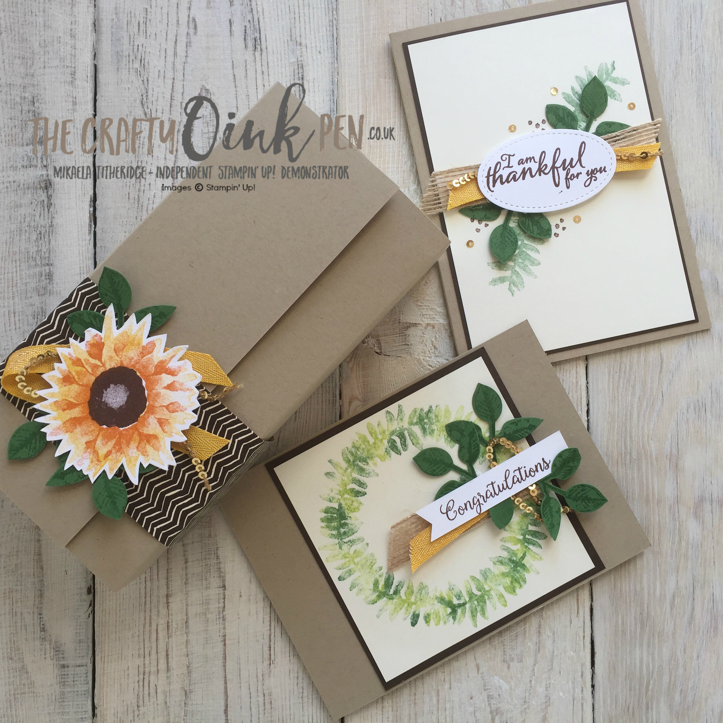 Painted Harvest Class by Mikaela Titheridge, UK Independent Stampin' Up! Demonstrator, The Crafty oINK Pen, Sunflowers and wreaths