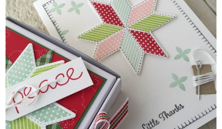 Christmas Quilt by Stampin' Up! in a mini Pizza Box