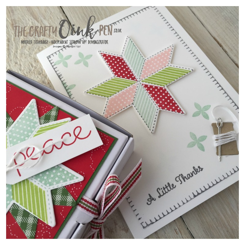 Christmas Quilt, Quilted Thank you card by Mikaela Titheridge, The Crafty oINK Pen