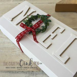 Mini Wreaths and Large Letters help make this cute little gift box by Mikaela Titheridge, The Crafty oINK Pen