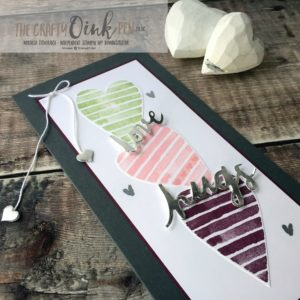 Celebrations of the Heart using Heart Happiness and Lovely Words Thinlits by Mikaela Titheridge, #6UK Independent Stampin' Up! Demonstrator, The Crafty oINK Pen. Supplies available through my online store 24/7