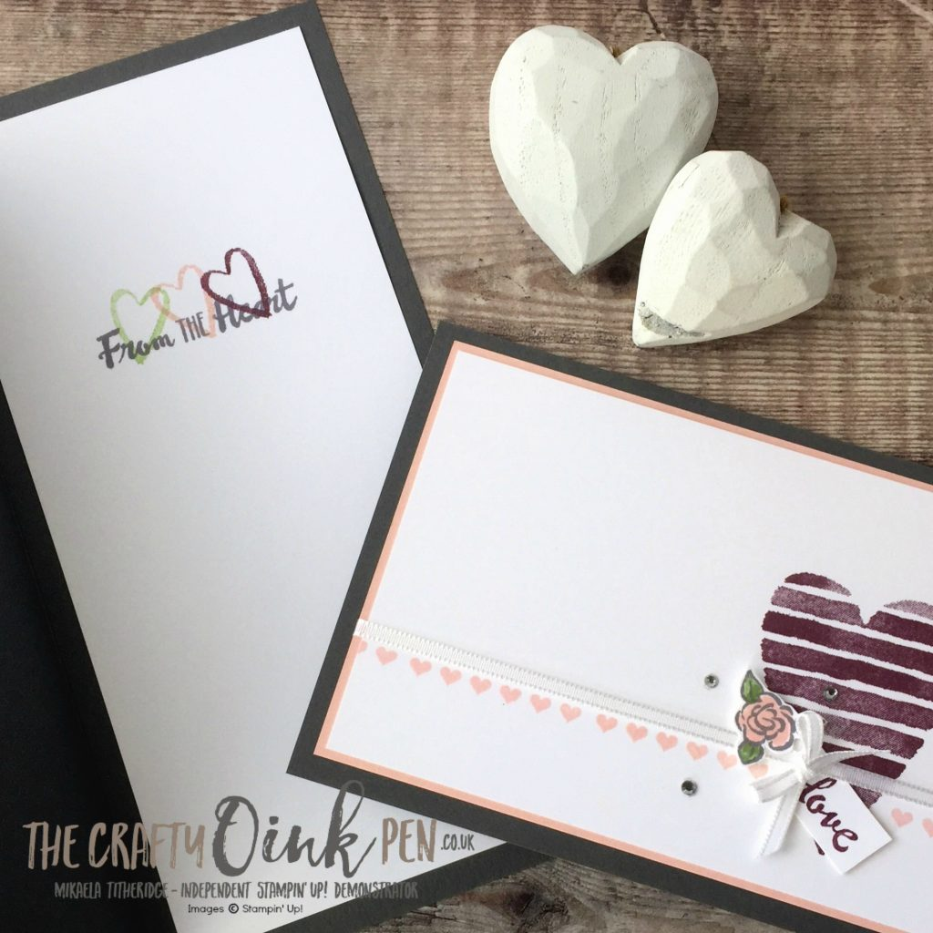 Celebrations of the Heart internal Sentiment from Petal Palette Stamp Set and teamed with Heart Happiness by Mikaela Titheridge, #6UK Independent Stampin' Up! Demonstrator, The Crafty oINK Pen. Supplies available through my online store 24/7