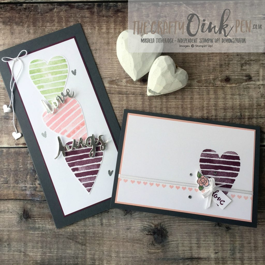 Celebrations of the Heart Card Duo for the Creation Station Blog Hop, February 2018, using Heart Happiness by Mikaela Titheridge, #6UK Independent Stampin' Up! Demonstrator, The Crafty oINK Pen. Supplies available through my online store 24/7