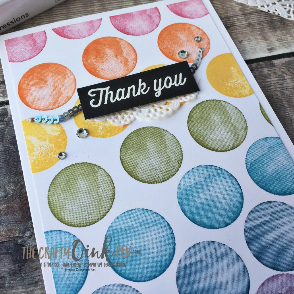 Stampin' Up! FREE Products have been used to make this Eclectic Expressions Rainbow Thank you card by Mikaela Titheridge, #6UK Independent Stampin' Up! Demonstrator, The Crafty oINK Pen. Supplies available through my online store 24/7