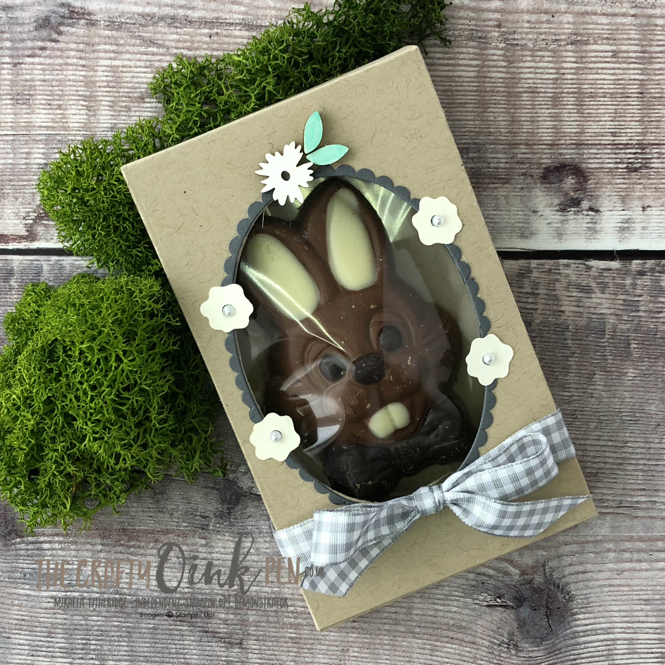 Give the gift of this cute little Chocolate Bunny with the help of the Lots To Love treat Box Framelits and Hello Easter from Stampin' Up! by Mikaela Titheridge, Independent Stampin' Up! Demonstrator, The Crafty oINK Pen. Supplies available through my online store 24/7