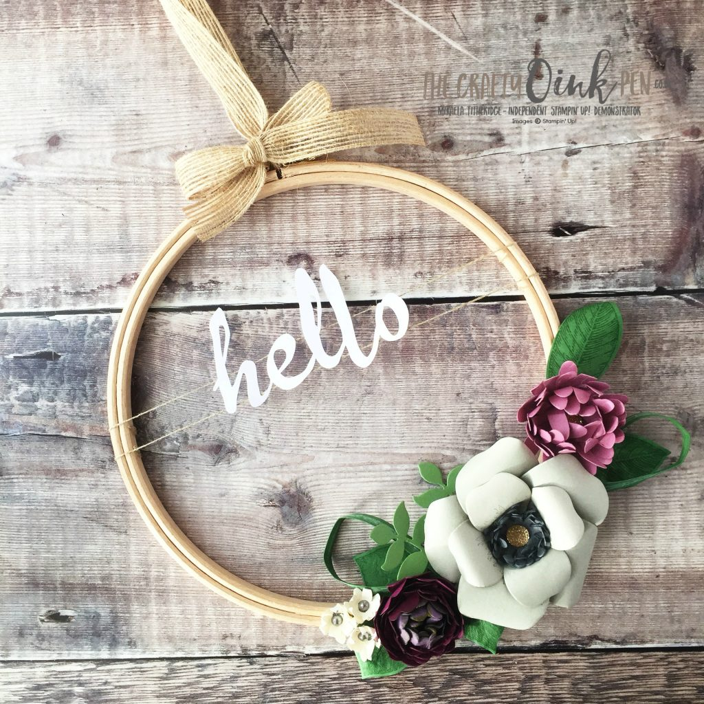 Wooden Embroidery Hoop Wreath of Garden Party Paper Flowers made by Mikaela Titheridge, UK Independent Stampin' Up! Demonstrator, The Crafty oINK Pen. Supplies available through my online store 24/7