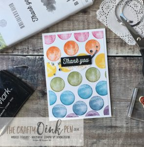Stampin' Up! FREE Products during Sale-a-Bration have been used to make this colourful Thank You card. Eclectic Expressions of a Rainbow by Mikaela Titheridge, #6UK Independent Stampin' Up! Demonstrator, The Crafty oINK Pen. Supplies available through my online store 24/7