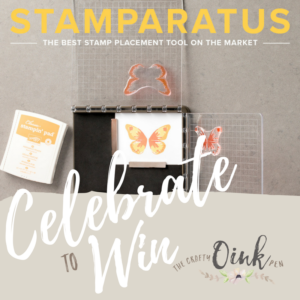 Celebrate with me to Win a Stamparatus Stamp Positioning Tool. Mikaela Titheridge, The Crafty oINK Pen, Independent Stampin' Up! Demonstrator