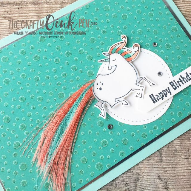 Magical Day for a Unicorn meets FREE Sale-a-Bration Ribbons for this Alaska Achievers Blog Hop by Mikaela Titheridge, UK Independent Stampin' Up! Demonstrator, The Crafty oINK Pen. Supplies available through my online store 24/7