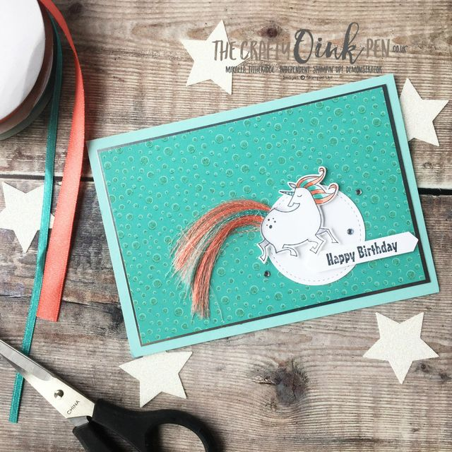 Magical Day for a Unicorn with these Sale-a-Bration Ribbons for the Alaska Achievers Blog Hop by Mikaela Titheridge, UK Independent Stampin' Up! Demonstrator, The Crafty oINK Pen. Supplies available through my online store 24/7
