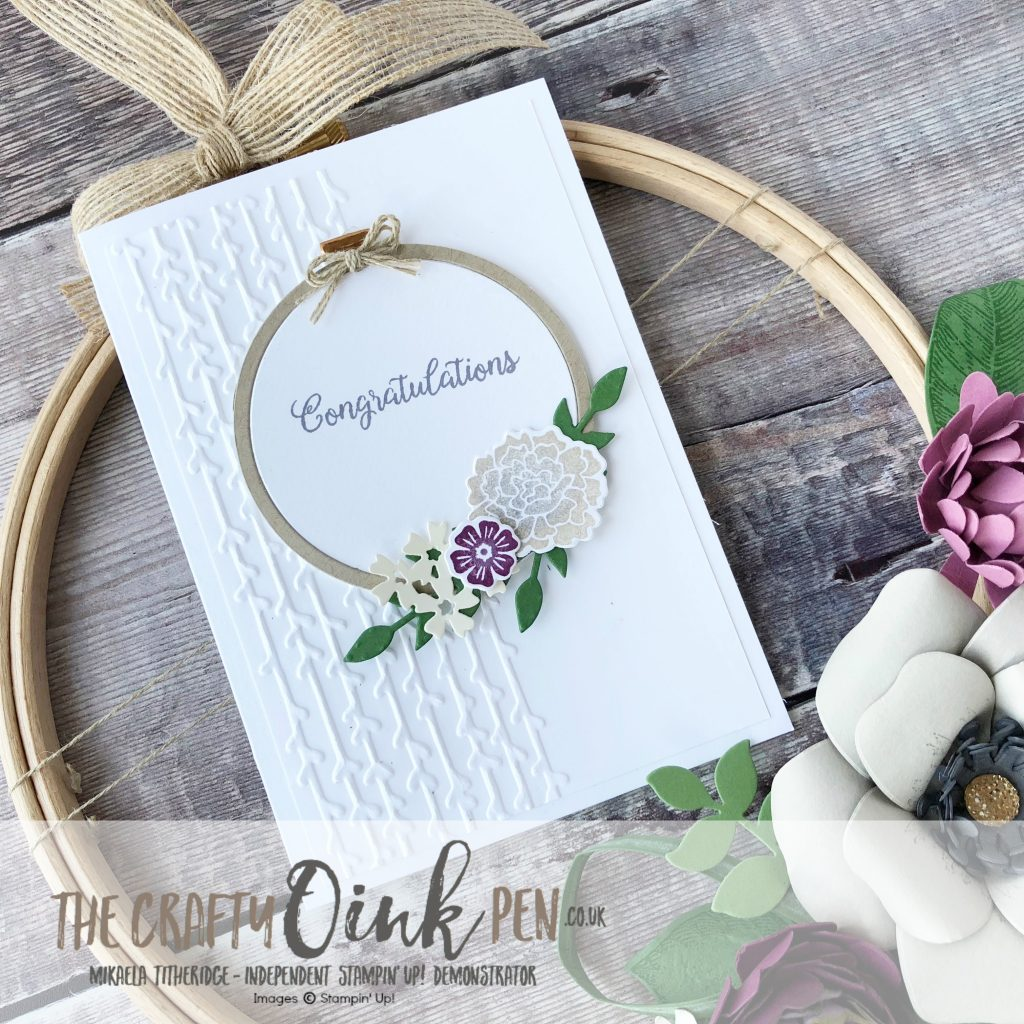 A Garden party Beautiful Bouquet helps create a Congratulations Card and Floral Hoop Wreath by Mikaela Titheridge, UK Independent Stampin' Up! Demonstrator, The Crafty oINK Pen. Supplies available through my online store 24/7