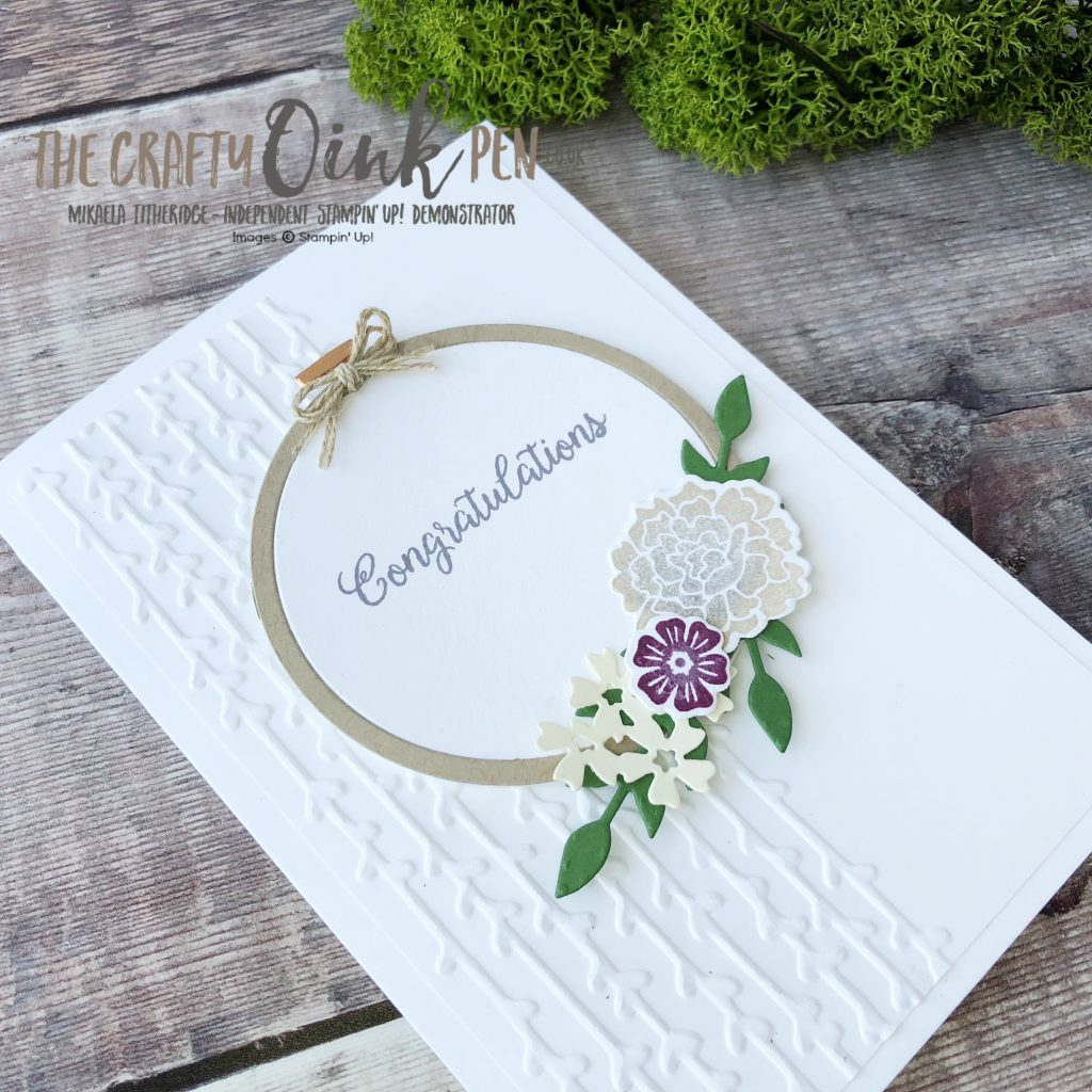 A Garden party Beautiful Bouquet helps create this Floral Hoop Wreath card by Mikaela Titheridge, UK Independent Stampin' Up! Demonstrator, The Crafty oINK Pen. Supplies available through my online Store 24/7