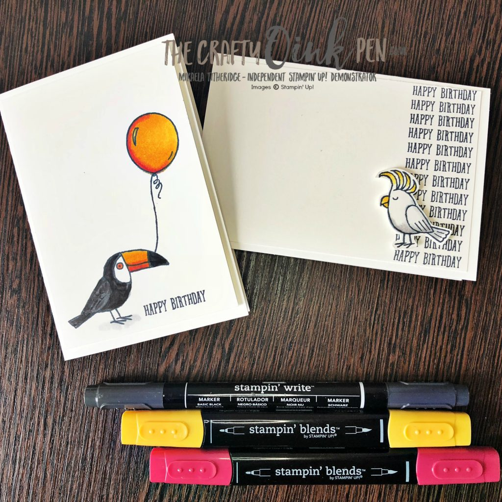 Toucan do Bird Banter Quick and Easy Note Cards by Mikaela Titheridge, #6UK Independent Stampin' Up! Demonstrator, The Crafty oINK Pen. Supplies available through my online store 24/7