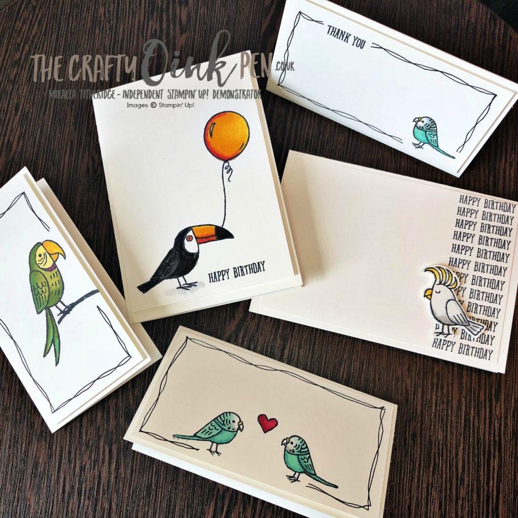 Bird Banter, Quick and Easy cards made using Stampin' Up! Note Cards and Envelopes and Stampin' Blends by Mikaela Titheridge, #6UK Independent Stampin' Up! Demonstrator, The Crafty oINK Pen. Supplies available through my online store 24/7