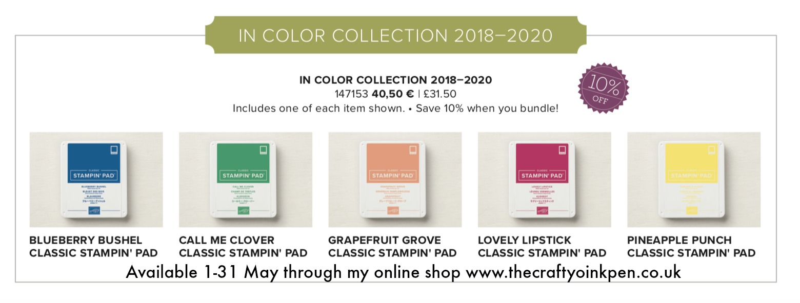 In Colour Bundle Saving 10% when purchased 1-31st May through Mikaela Titheridge, Independent Stampin' Up! Demonstrator, The Crafty oINK Pen. Shop Online 24/7