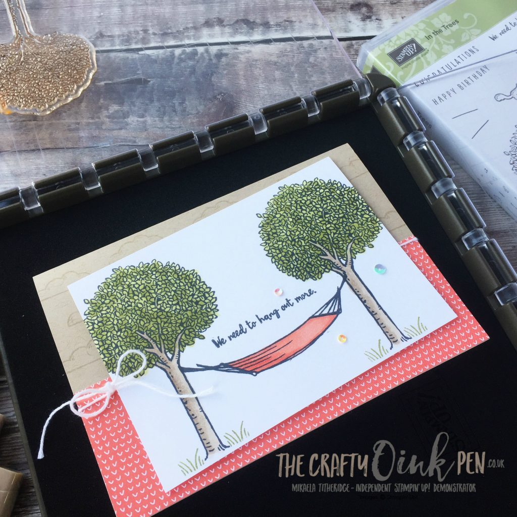 In The Trees card created using Stampin' Up! Blends and the Stampin' Up! Stamparatus image positioning tool by Mikaela Titheridge, #6UK Stampin' Up! Demonstrator, The Crafty oINK Pen. Supplies available through my online store 24/7