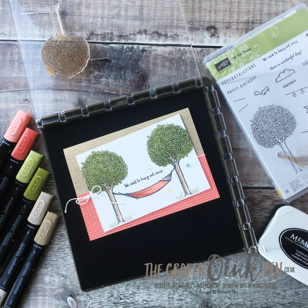 In The Trees card created using Stampin' Up! Stamparatus and Blends. Image positioning tool by Mikaela Titheridge, #6UK Stampin' Up! Demonstrator, The Crafty oINK Pen. Supplies available through my online store 24/7