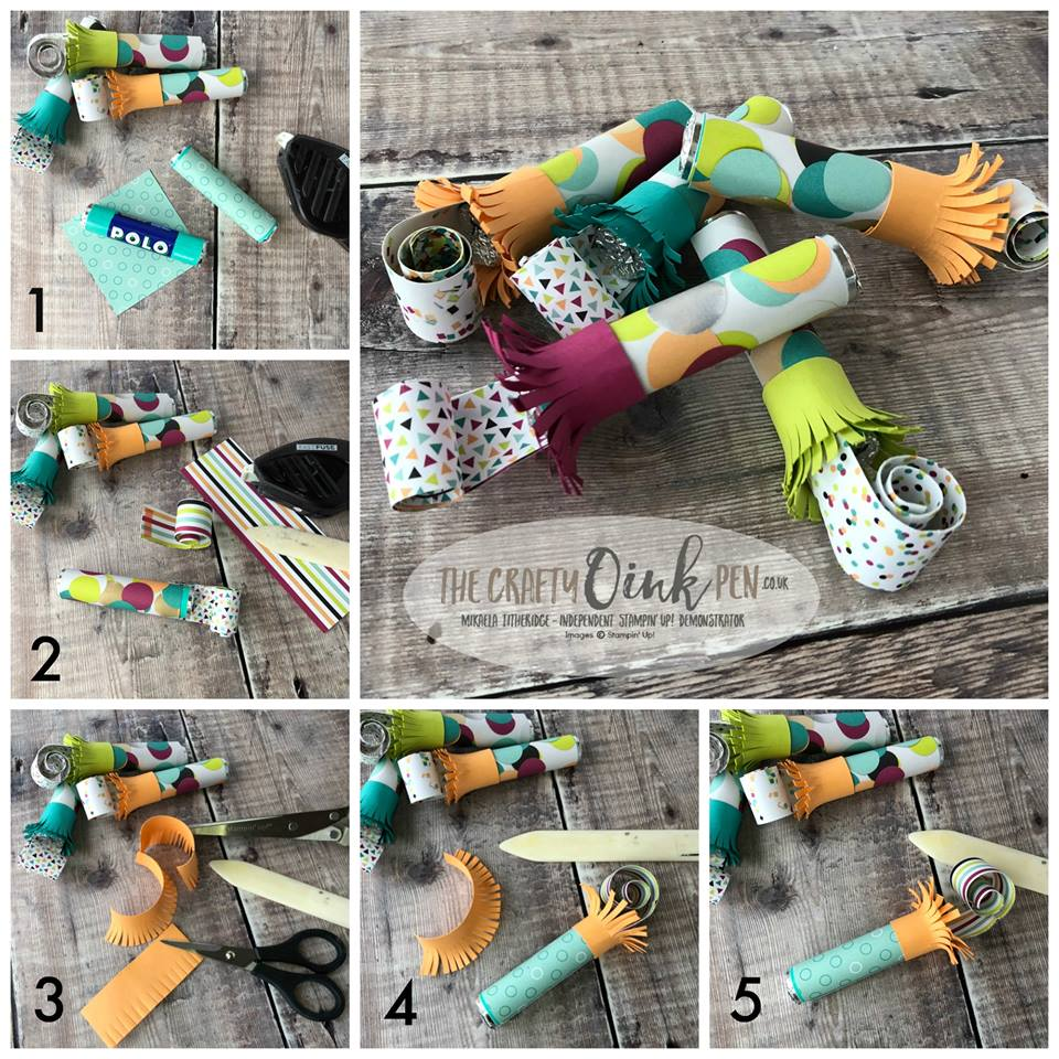 Picture Perfect Birthday Candy filled Party Blower favours Tutorial by Mikaela Titheridge, The Crafty oINK Pen, #6UK Independent Stampin' Up! Demonstrator, Papercraft coach based in Cambridgeshire. Supplies available through my online store 24/7