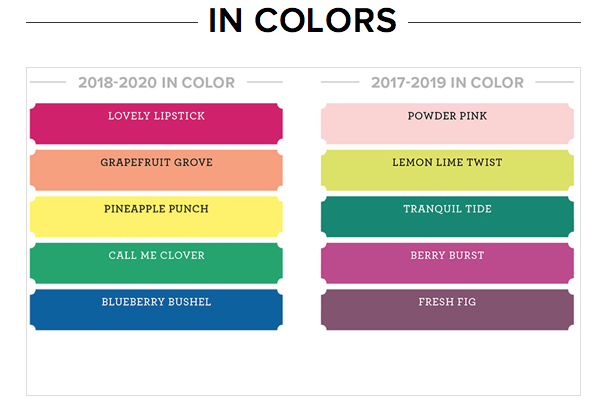 Stampin' Up! In Colours 2017 - 2020 by Mikaela Titheridge, The Crafty oINK Pen, Independent Stampin' Up! Demonstrator. Supplies available through my online store 24/7