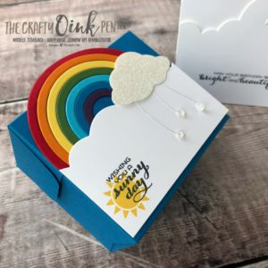 Stampin' Up! Retiring Products Sunshine & Rainbows Gift Box with real drops of rain by Mikaela Titheridge, #6UK Independent Stampin' Up! Demonstrator, The Crafty oINK Pen. Supplies available through my online store 24/7