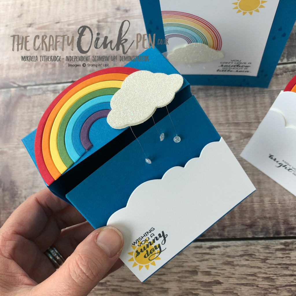 Stampin' Up! Retiring Products - Sunshine & Rainbows gift box with Raindrop detail by Mikaela Titheridge, #6UK Independent Stampin' Up! Demonstrator, The Crafty oINK Pen. Supplies available through my online store 24/7