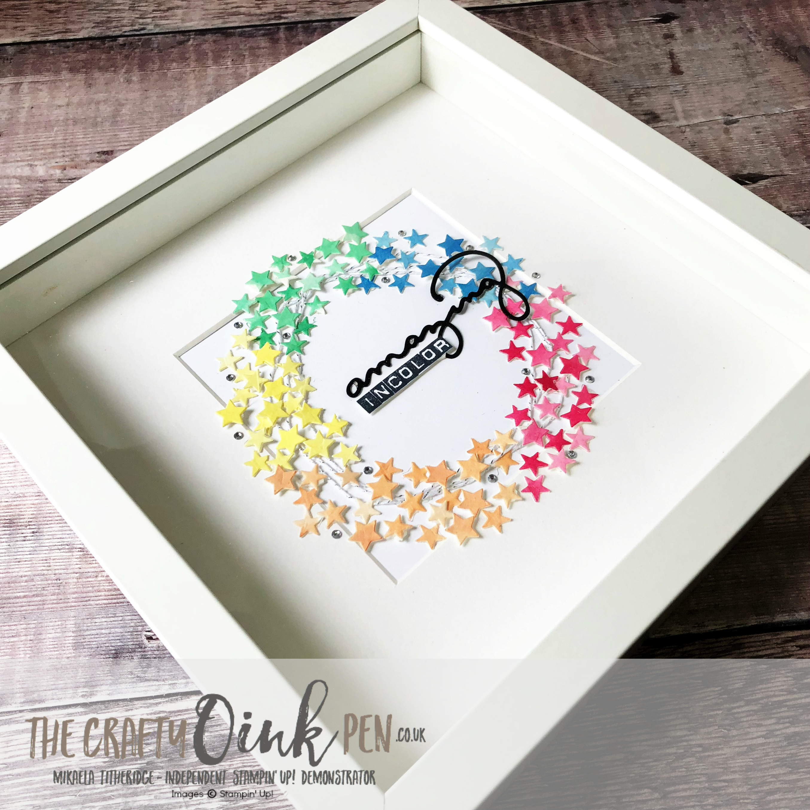 Stampin' Up! Pre Order Products In Colors 2018-2020 have helped create this Box Frame of Stars by Mikaela Titheridge, #6UK Independent Stampin' Up! Demonstrator, The Crafty oINK Pen. Supplies available through my online store 24/7