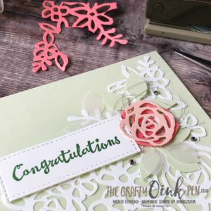 Springtime Impressions from the Abstract Impressions Bundle with springtime Colours of Soft Sea Foam, Petal Pink and Flirty Flamingo by Mikaela Titheridge, #6UK Independent Stampin' Up! Demonstrator, The Crafty oINK Pen. Supplies available through my online store 24/7