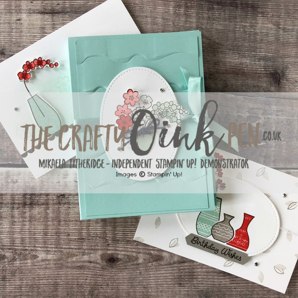 Varied Vases Stamp Set and Vases Builder Punch create this note card holder and quick and simple card class by Mikaela Titheridge, #6UK Independent Stampin' Up! Demonstrator, The Crafty oINK Pen. Supplies available through my online store 24/7