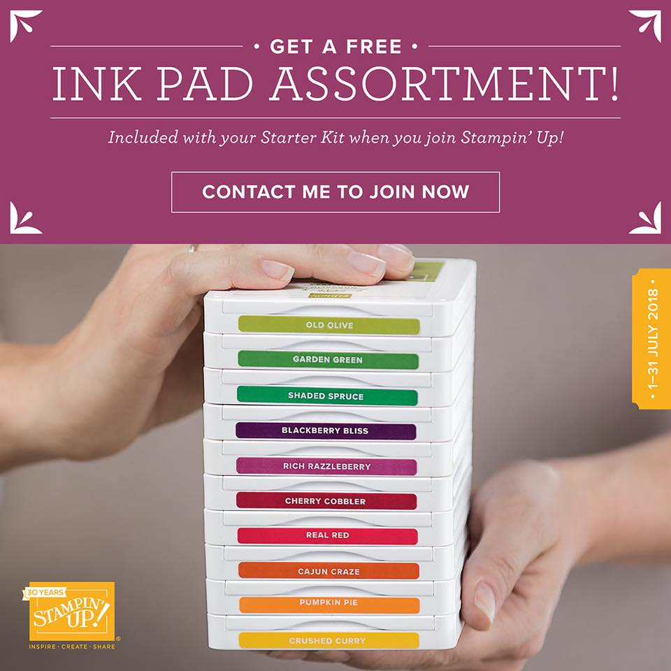 Stampin' Up! Starter Kit with FREE Ink Pads this July available by joining my Team. Mikaela Titheridge, The Crafty oINK Pen, Independent Stampin' Up! Demonstrator. Supplies available 24/7, Starter kit deal available 1-31st July 2018