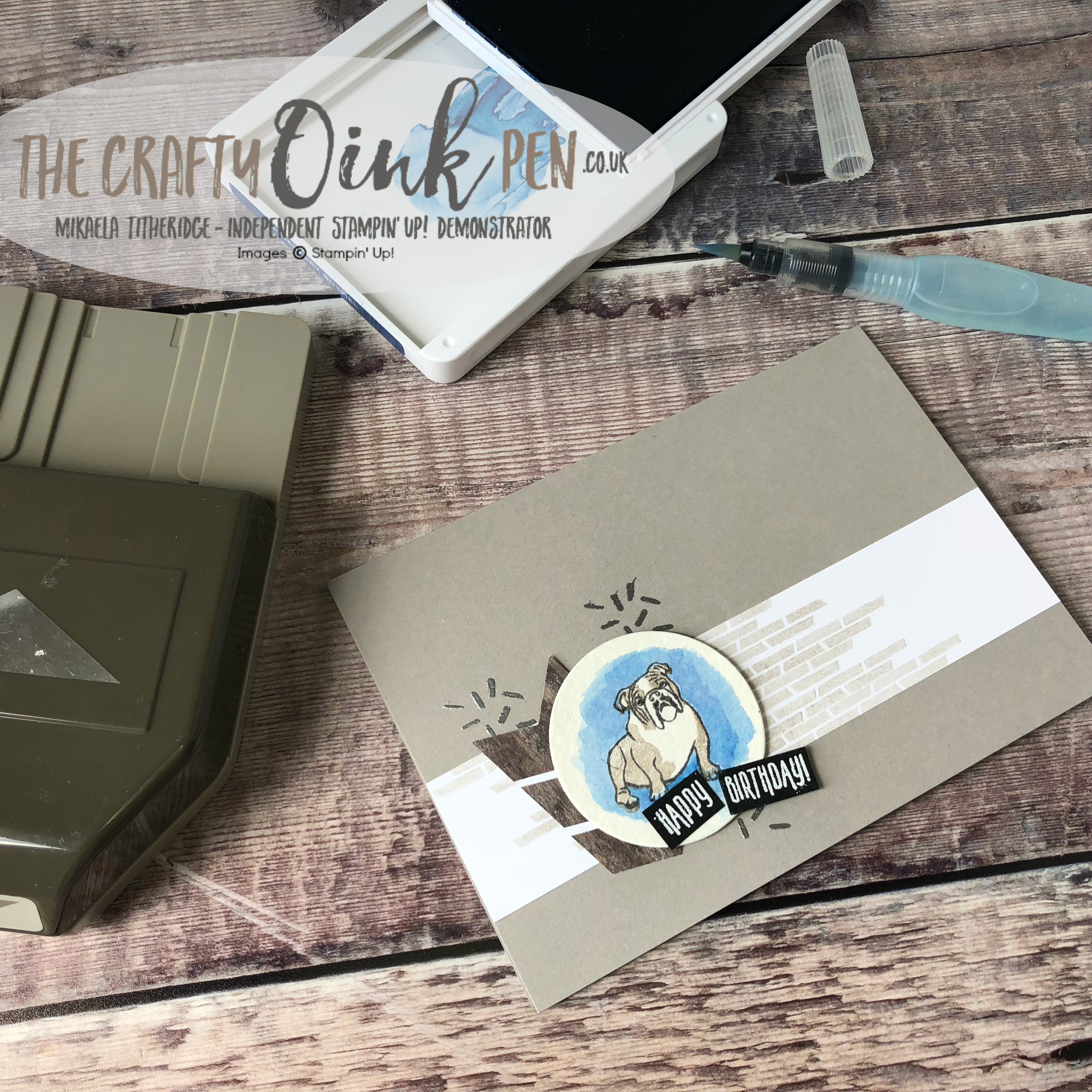 Sitting Pretty British Bull Dog meets Picture Perfect Birthday for the Creation Station Blog Hop by Mikaela Titheridge, #6UK Independent Stampin' Up! Demonstrator, The Crafty oINK Pen. Supplies available through my online store 24/7
