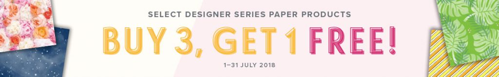Buy 3, Get 1 FREE Designer Series Paper. Available from Mikaela Titheridge, #6UK Independent Stampin' Up! Demonstrator, The Crafty oINK Pen. Supplies available through my online store 24/7