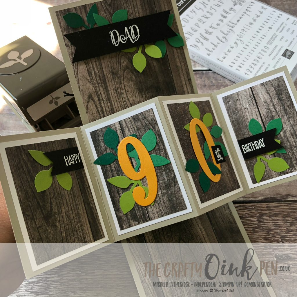 90th Birthday, Twist and Pop Card using Make a Difference, the Leaf punch, Celebrate You and the retired Large Numbers Dies for the BigShot by Mikaela Titheridge, #6UK Independent Stampin' Up! Demonstrator, The Crafty oINK Pen. Supplies available through my online store 24/7