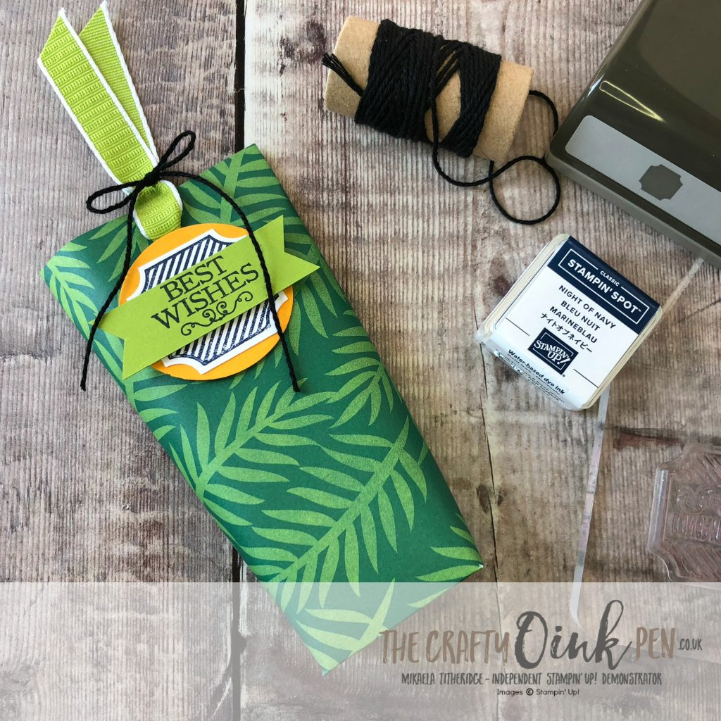 "Darling Table Punch Treat Pouch using Tropical Escape DSP 6"" x 6"" square by Mikaela Titheridge, #6UK Independent Stampin' Up! Demonstrator, The Crafty oINK Pen. Supplies available through my online store 24/7"