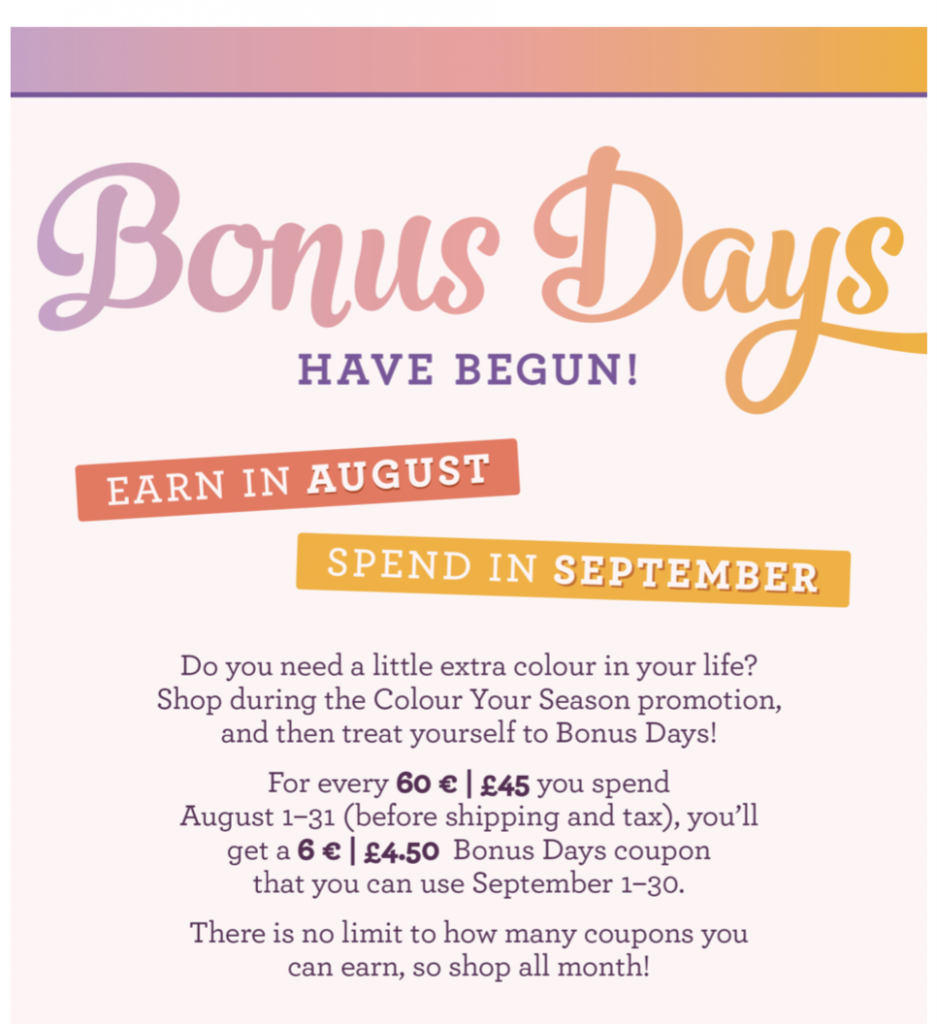 Earn your Bonus Day 10% Discount Vouchers to spend in my shop in September by Mikaela Titheridge, #6UK Independent Stampin' Up! Demonstrator, The Crafty oINK Pen. Supplies available through my online store 24/7