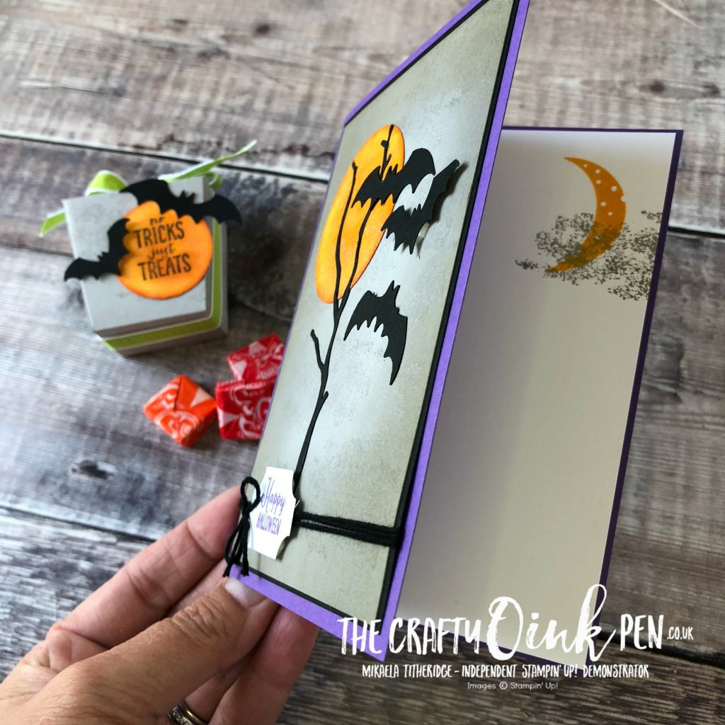 Spooky Sweets Halloween Card using the Bat Punch and Seasonal Layers Dies by Mikaela Titheridge, #6UK Independent Stampin' Up! Demonstrator, The Crafty oINK Pen. Supplies available through my online store 24/7