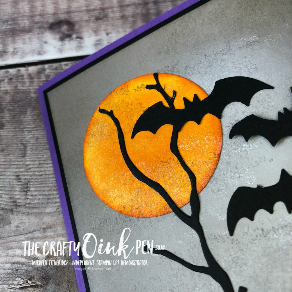 Spooky Sweets Halloween Card using the Bat Punch by Mikaela Titheridge, #6UK Independent Stampin' Up! Demonstrator, The Crafty oINK Pen. Supplies available through my online store 24/7