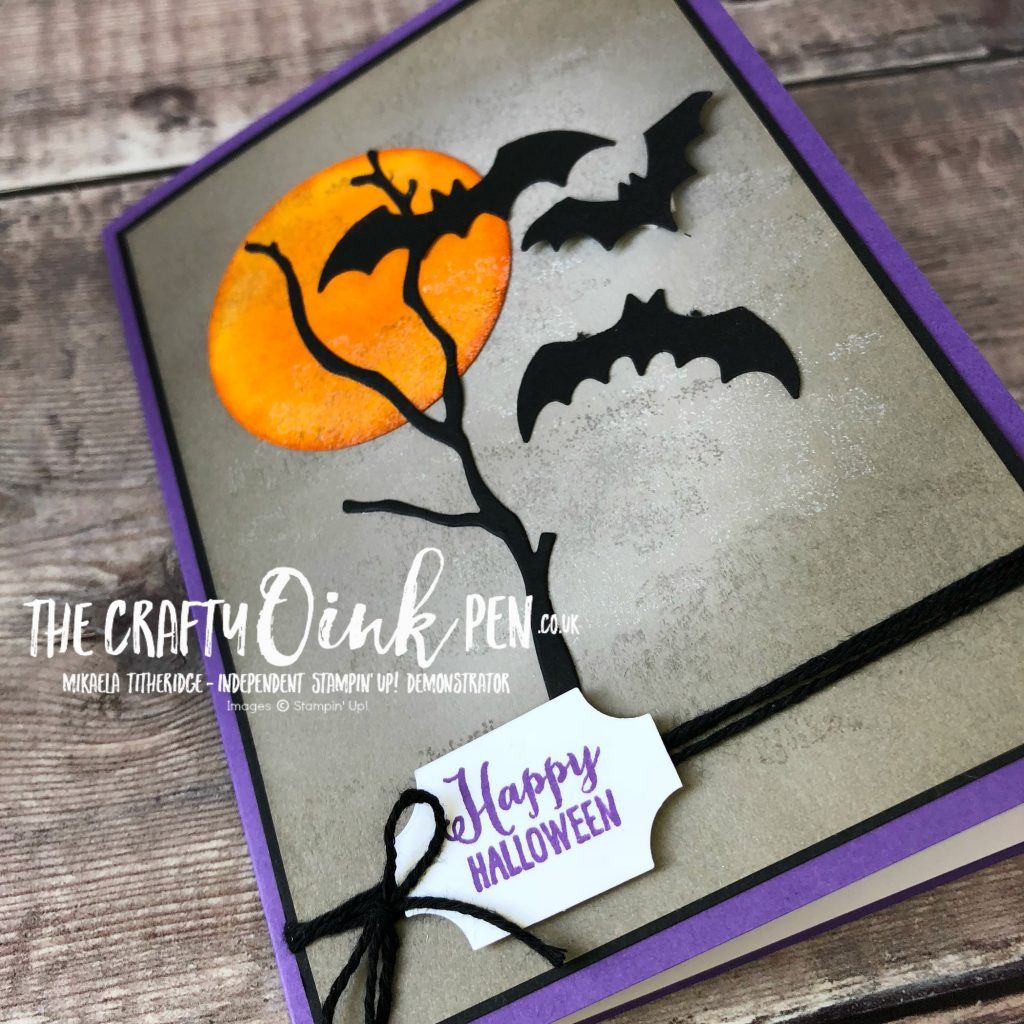 Spooky Sweets Halloween Bat Card by Mikaela Titheridge, #6UK Independent Stampin' Up! Demonstrator, The Crafty oINK Pen. Supplies available through my online store 24/7