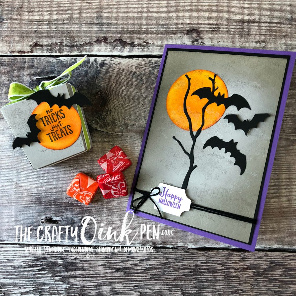 Spooky Sweets Halloween Card and Treat Box using the Take out Thinlits by Mikaela Titheridge, #6UK Independent Stampin' Up! Demonstrator, The Crafty oINK Pen. Supplies available through my online store 24/7