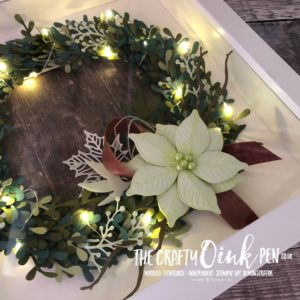 Illuminated Christmas Wreath using the Stampin' Up! Sprig Punch, Rooted in Nature, Seasonal Layers and Frosted Bouquet Framelits by Mikaela Titheridge, #6UK Independent Stampin' Up! Demonstrator, The Crafty oINK Pen. Supplies available through my online store 24/7