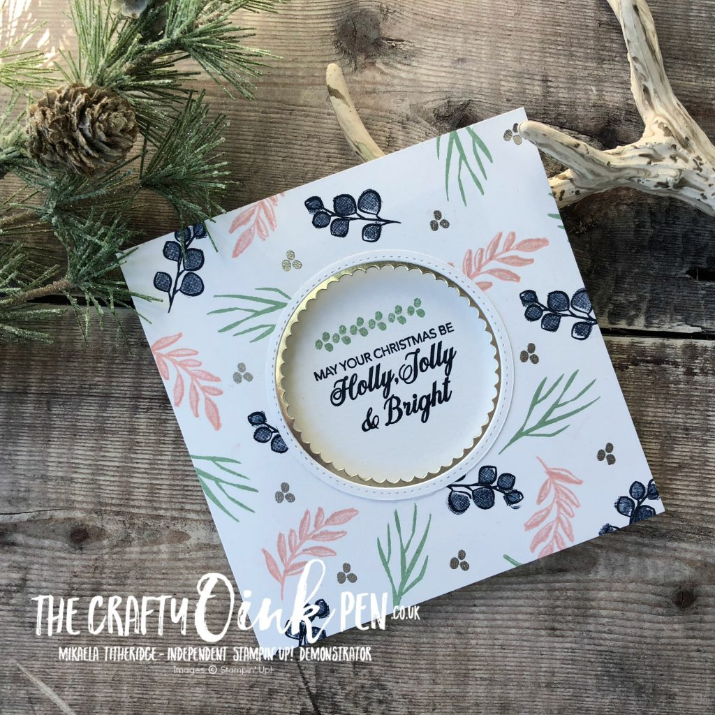 Non Traditional Festive Christmas Card using Peaceful Noel by Mikaela Titheridge, #6UK Independent Stampin' Up! Demonstrator, The Crafty oINK Pen. Supplies available through my online store 24/7