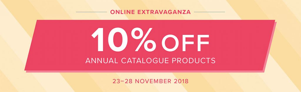 Online Extravaganza 10% Discounts and Demonstrator Carry Tote available through Mikaela Titheridge, UK Independent Stampin' Up! Demonstrator, The Crafty oINK Pen. Supplies available through my online store 24/7