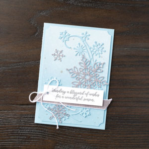 Snow is Glistening with Snowfall Thinlits Dies from the Snowflake Showcase limited edition promotion November 2018. Products available through Mikaela Titheridge, Independent Stampin' Up! Demonstrator, The Crafty oINK Pen. Shop online 24/7