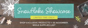 Snowflake Showcase suite Limited time only, November 2018, Stampin' Up! Snowflake Showcase Suite available through Mikaela Titheridge, UK Independent Stampin' Up! Demonstrator, The Crafty oINK Pen. Shop online 24/7