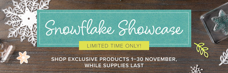 Limited time only, November 2018, Stampin' Up! Snowflake Showcase Suite available through Mikaela Titheridge, UK Independent Stampin' Up! Demonstrator, The Crafty oINK Pen. Shop online 24/7