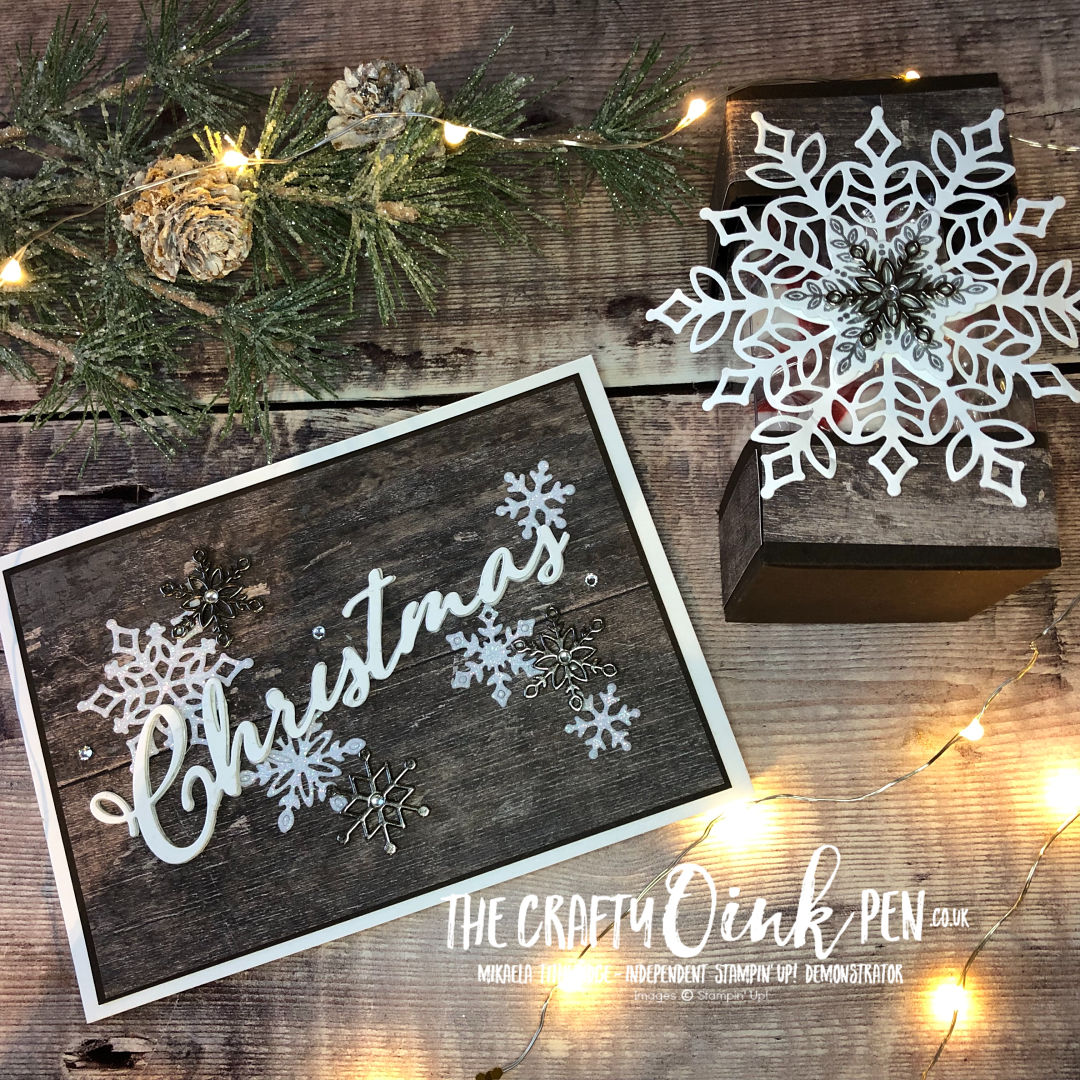 Snow is Glistening for a White Christmas with Snowfall Thinlits. Available during November 2018 through Mikaela Titheridge, Independent Stampin' Up! Demonstrator, The Crafty oINK Pen. Shop online 24/7 www.thecraftyoinkpen.co.uk/shop