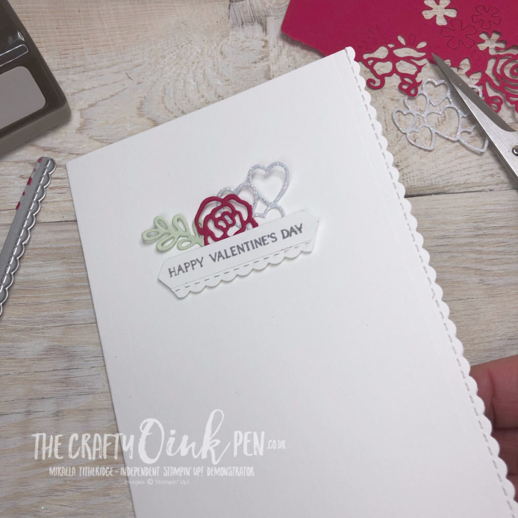 Forever Lovely Valentines card using Lovely Flowers Edgelits by Mikaela Titheridge, UK Independent Stampin' Up! Demonstrator, The Crafty oINK Pen. Supplies available through my online store 24/7