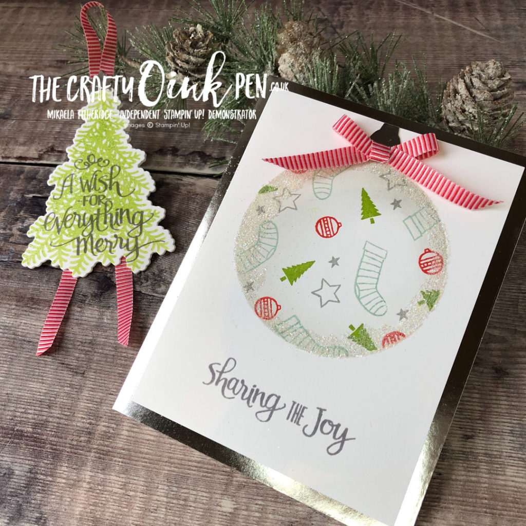 Are you Ready for Christmas and to Celebrate the Season? Christmas Bauble Card and Tree Tag by Mikaela Titheridge, Independent Stampin' Up! Demonstrator, The Crafty oINK Pen. Shop online 24/7 www.thecraftyoinkpen.co.uk/shop